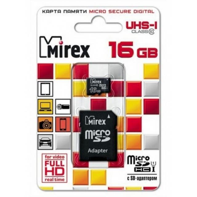 Карта памяти MIREX 16Gb class 10 microSDHC + aдаптер